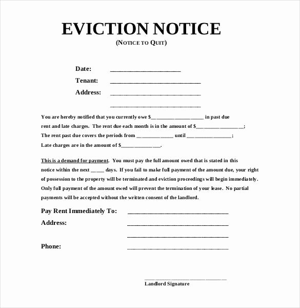 Eviction Notice Pa Template New Eviction Notice Pa Template 6