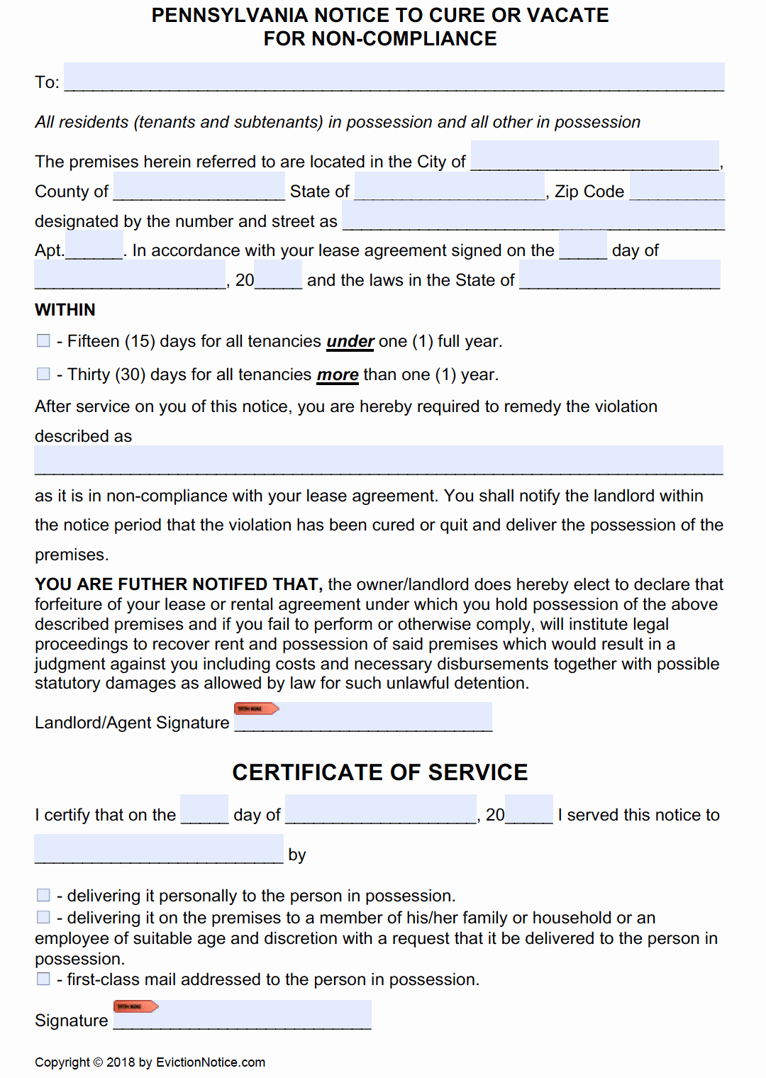 Eviction Notice Pa Template Unique Free Pennsylvania Eviction Notice Templates