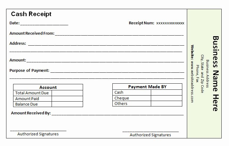 Example Of A Receipt for Payment Inspirational Receipt Template for Cash Payment – Printable Receipt Template