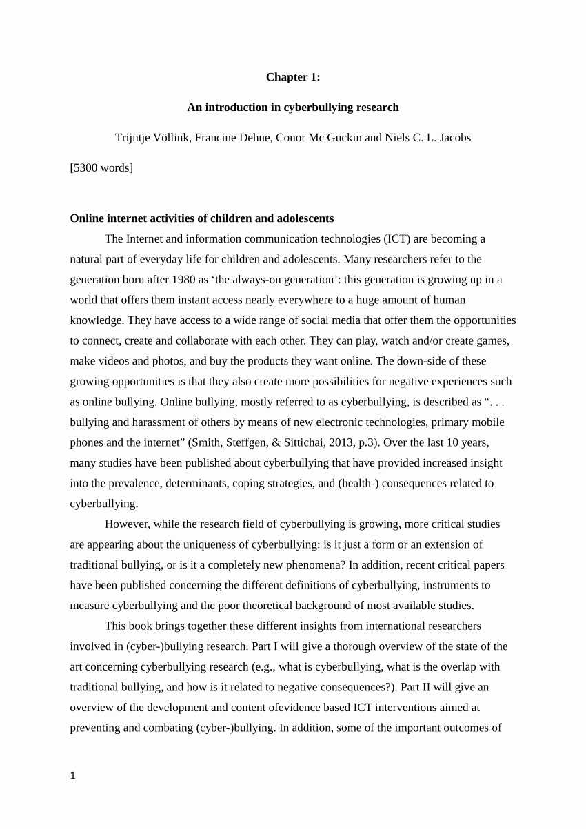 Example Of Introduction In Research Paper Pdf Awesome Pdf An Introduction In Cyberbullying Research