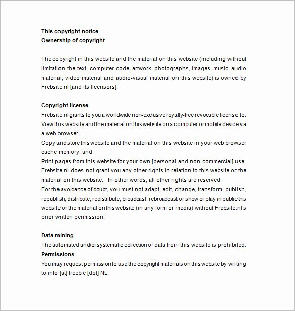 Example Of Notice Awesome 26 Copyright Notices Doc Pdf