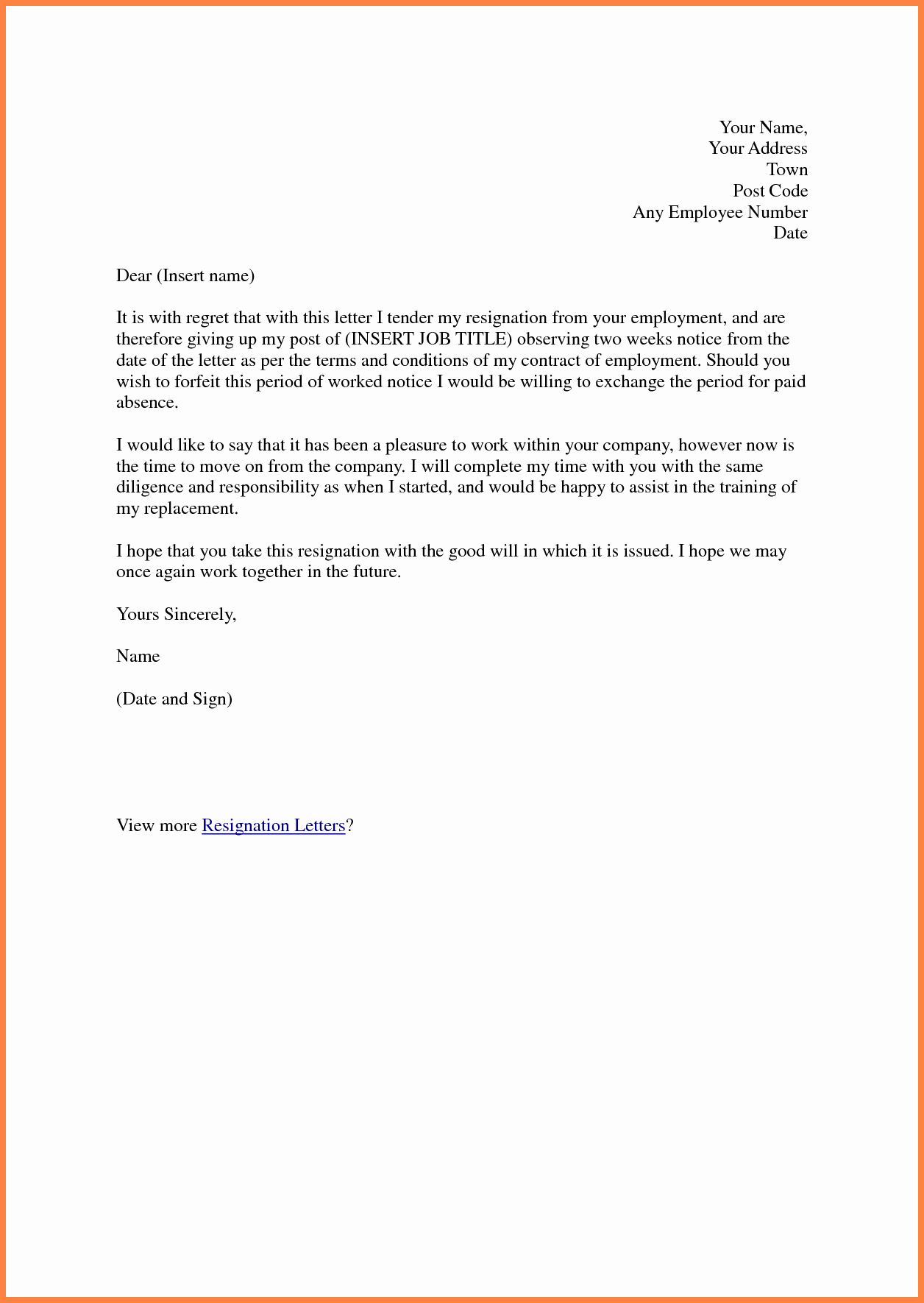 Example Of Notice Awesome 5 Example Of Resignation Letter 1 Week Notice
