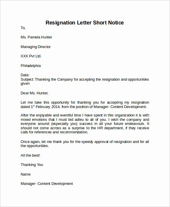 Example Of Notice Best Of How to Write A Short Notice Resignation Letter