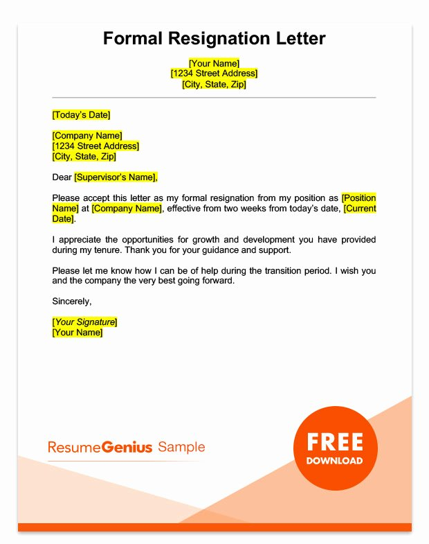 Example Of Notice Fresh Two Weeks Notice Letter Sample Free Download