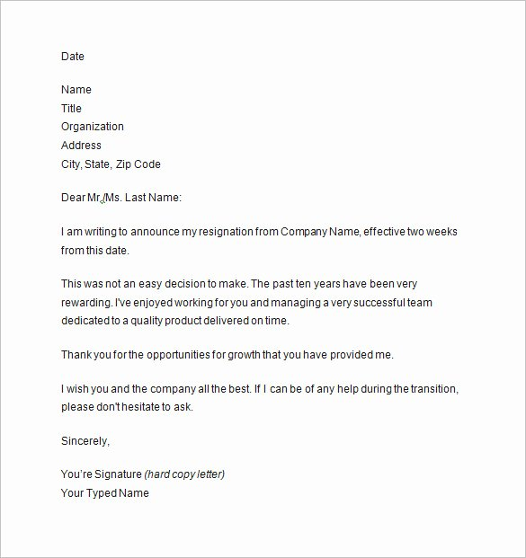 Example Of Notice New 10 Two Weeks Notice Letter Templates Pdf Doc