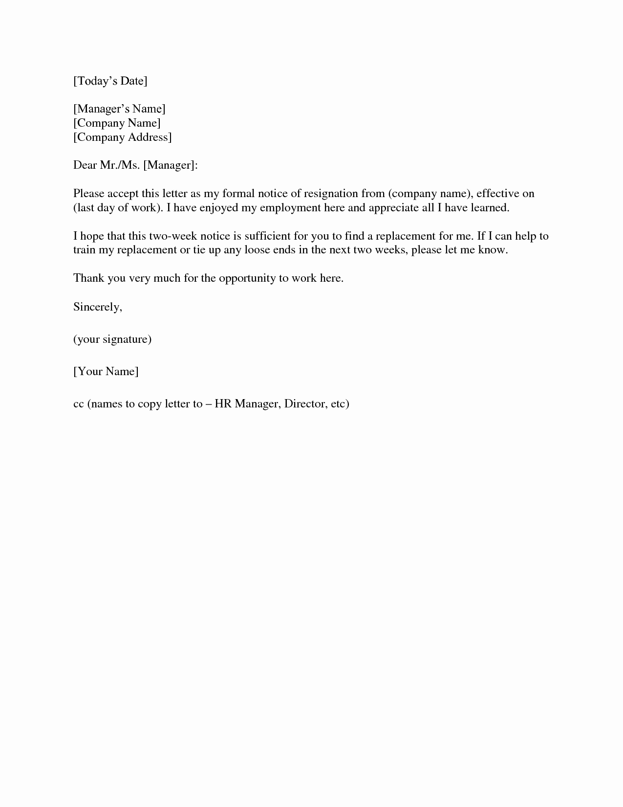 Example Of Notice New 2 Weeks Notice Letter