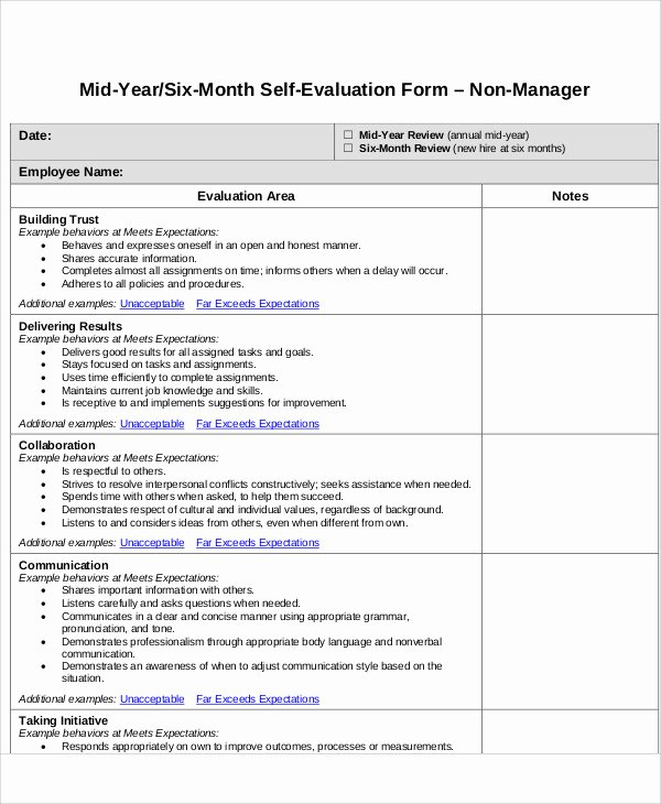 Example Of Self Evaluation Fresh 7 Employee Self assessment Samples Examples In Word Pdf