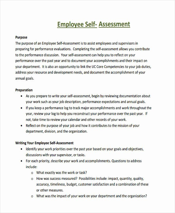 Example Of Self Evaluation Lovely Self Evaluation Sample