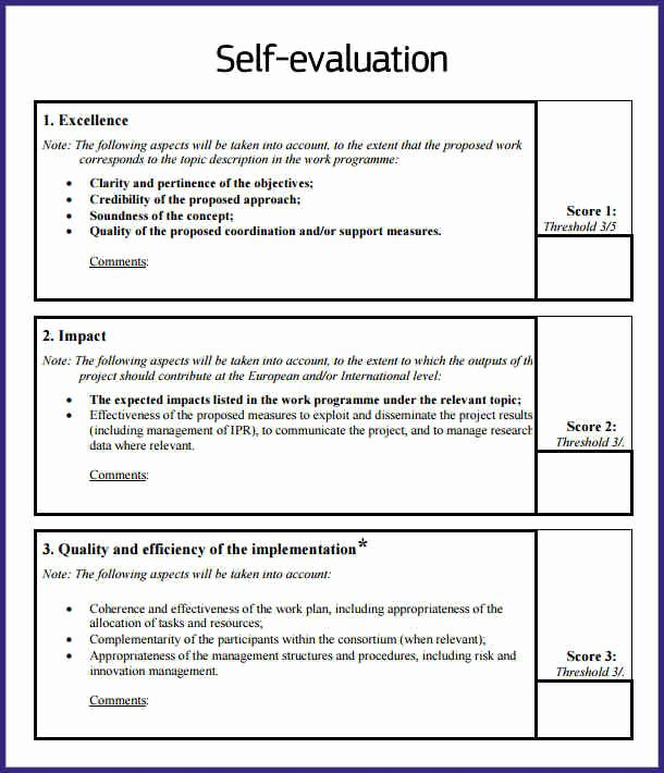 Example Of Self Evaluation New Self Evaluation Examples