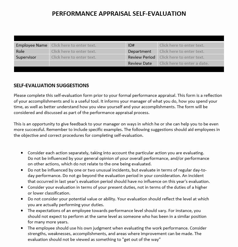 Example Of Self Evaluation Unique Performance Appraisal Self Evaluation