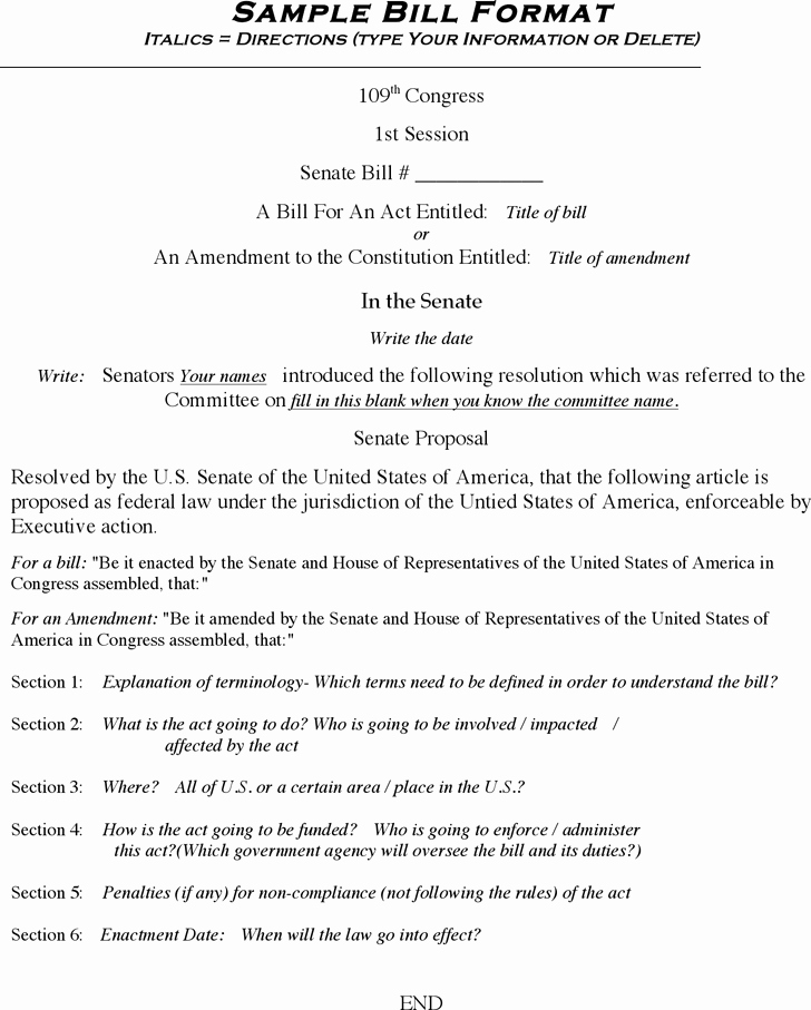 Examples Of Bills Written by Students Elegant 13 Of Senate Bill Template