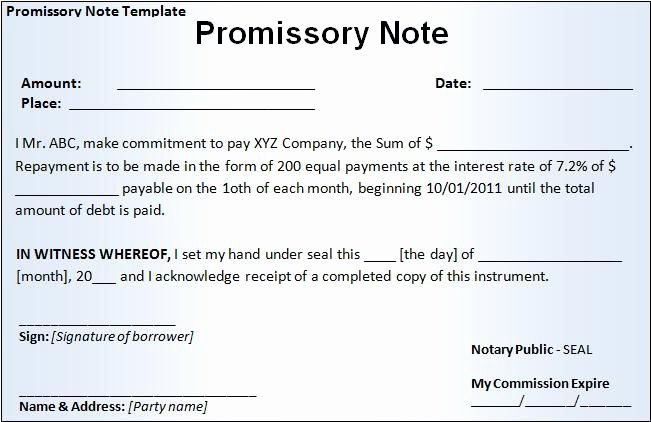 Examples Of Bills Written by Students Fresh Free Printable Promissory Note Template