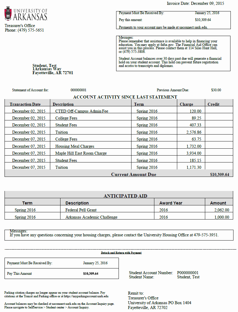 Examples Of Bills Written by Students New Student Accounts University Cashiers Fice