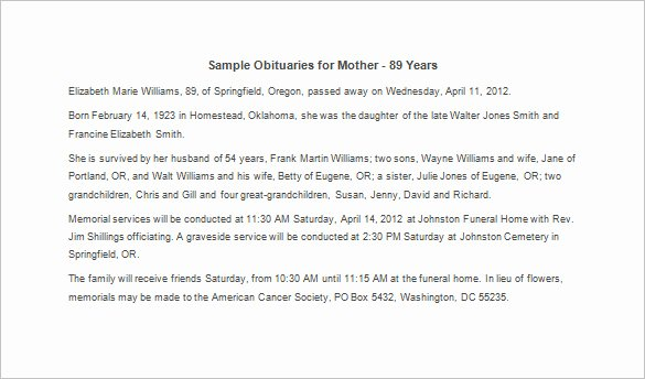 Examples Of Obituaries for A Mother Beautiful Sample Obituary for Mother