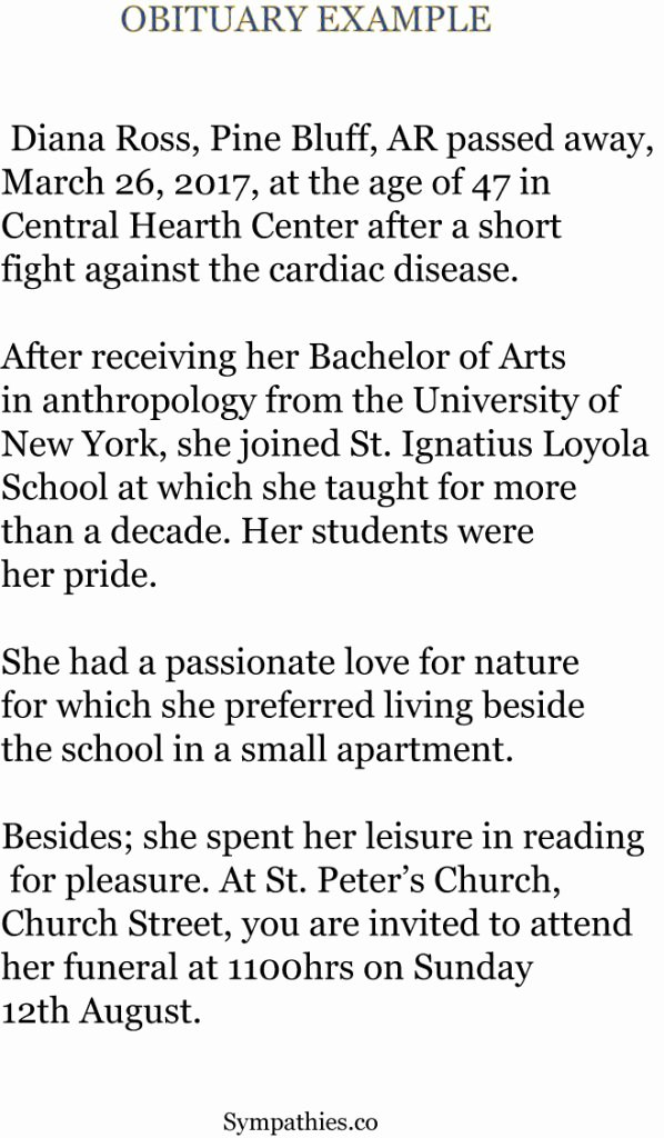 Examples Of Obituaries for A Mother Best Of Best Obituary Examples and Free Templates format for