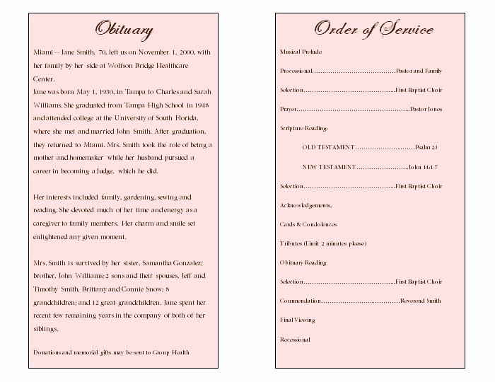 Examples Of Obituaries for A Mother Best Of Floral Art Single Fold Memorial Program Funeral Pamphlets