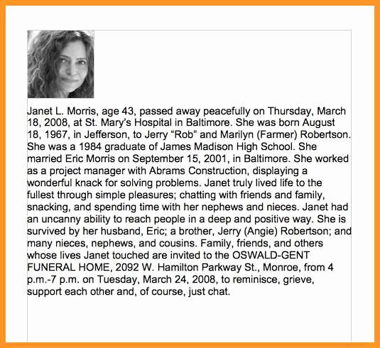 Examples Of Obituaries for A Mother Inspirational 9 10 Obituary Samples Templates