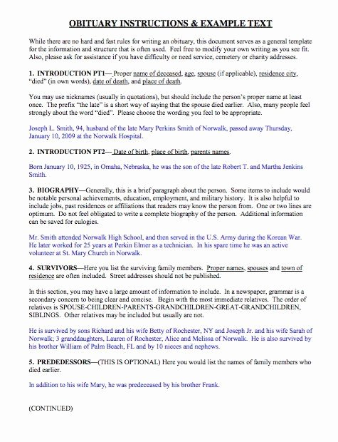 Examples Of Obituaries for A Mother Luxury Obituary Instructions and Example Text Mom