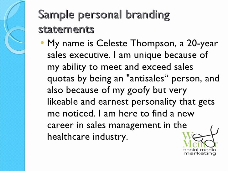 Examples Of Personal Brand Statements Awesome the Working Woman S Guide to Line Branding