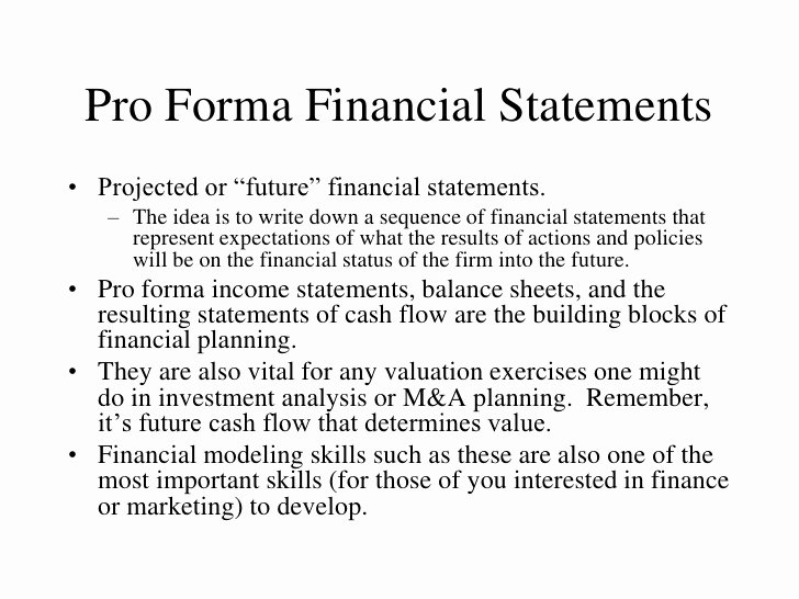 Examples Of Pro forma Financial Statements Beautiful Pro forma Financial Statements Pro forma Financial Statements