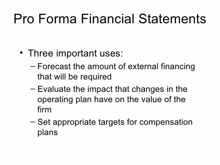 Examples Of Pro forma Financial Statements Luxury Pro forma Financial Statements Three Important Uses