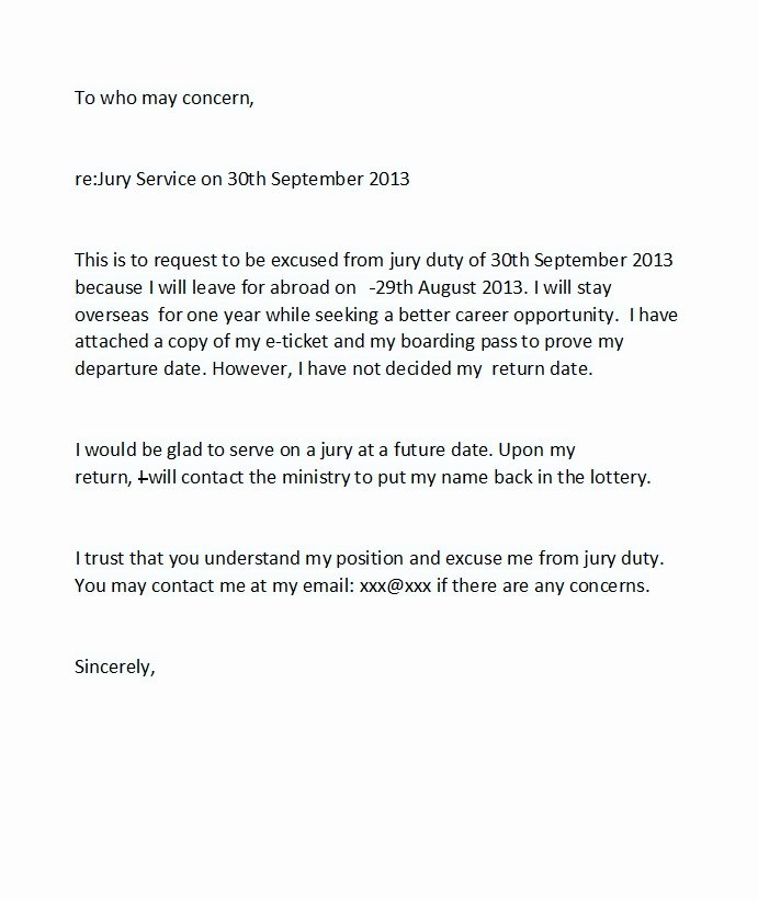 Excuse From Jury Duty Letter Examples Elegant 33 Best Jury Duty Excuse Letters [ Tips] Template Lab