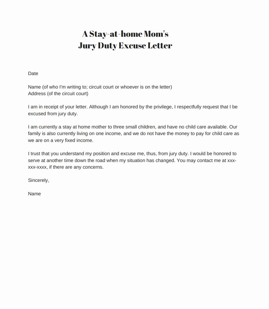 Excuse From Jury Duty Letter From Employer Elegant 33 Best Jury Duty Excuse Letters [ Tips] Template Lab