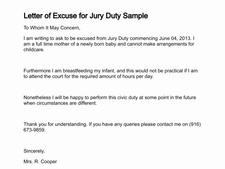 Excuse From Jury Duty Letter From Employer New Sample Letter Jury Duty Excuse