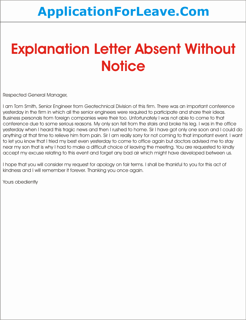 Explanation Letter Sample Beautiful Absent From Work Explanation Letter