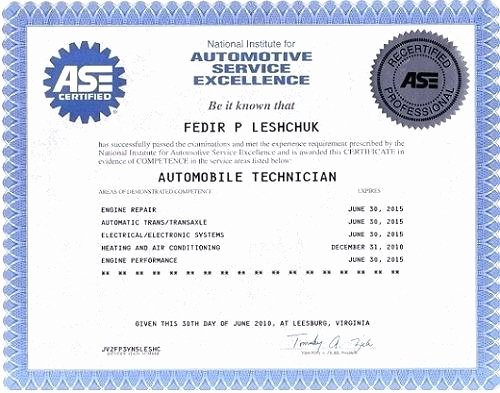 Fake ase Certificate Template Inspirational ase Certification Number