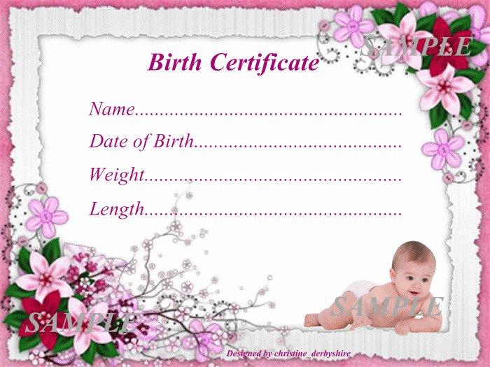 Fake Birth Certificate Template Free Beautiful Pink Floral Baby Birth Certificate Certificates 4 Reborn