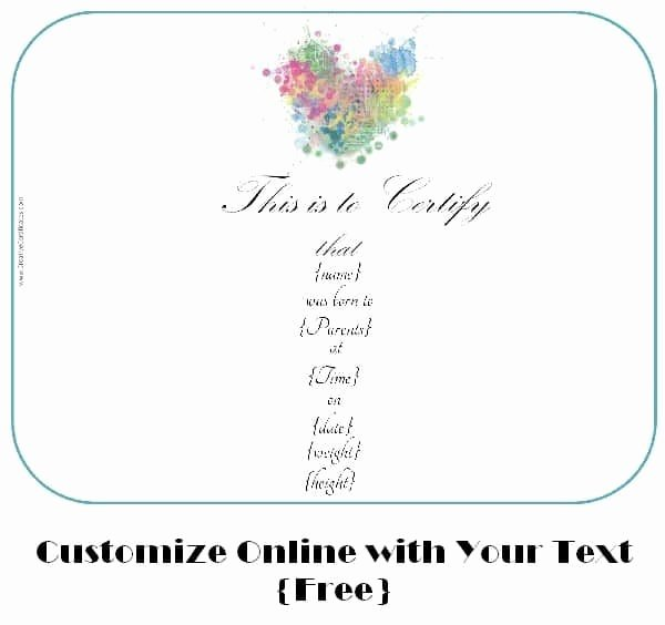 Fake Birth Certificate Template Free Lovely Free Adoption Certificate Template Customize Line