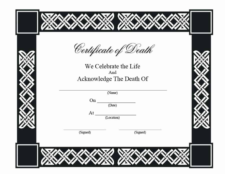 Fake Death Certificate Template Awesome 37 Blank Death Certificate Templates [ Free]