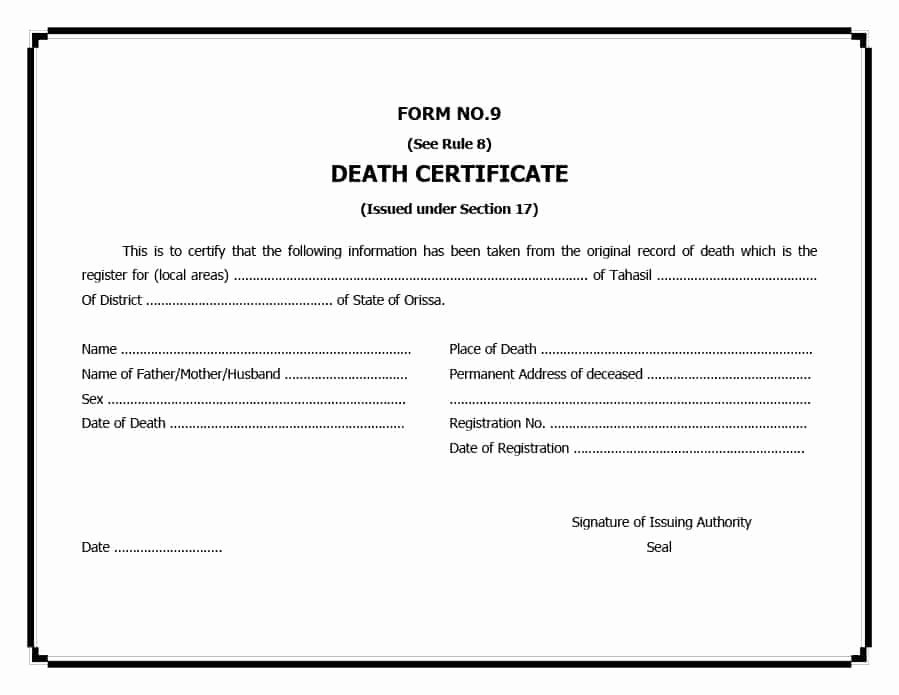 Fake Death Certificate Template Beautiful 37 Blank Death Certificate Templates [ Free]