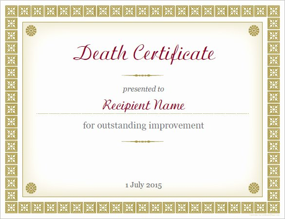 Fake Death Certificate Template Best Of Sample Death Certificate Template – 11 Free Word Pdf