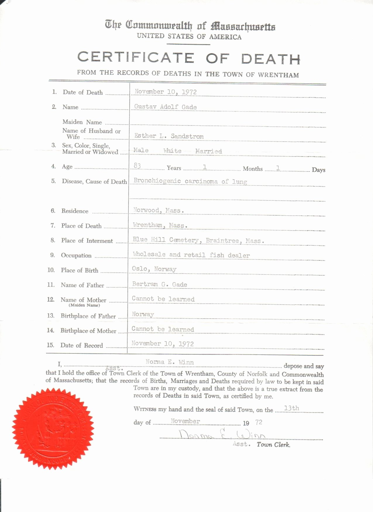 Fake Death Certificate Template New Gade Wood Death Certificates – Relatively Speaking