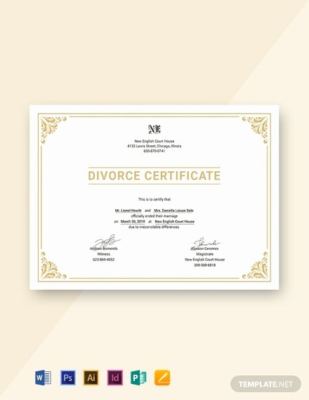 Fake Divorce Certificate Template Beautiful 27 Free Custom Certificate Templates In Microsoft Word