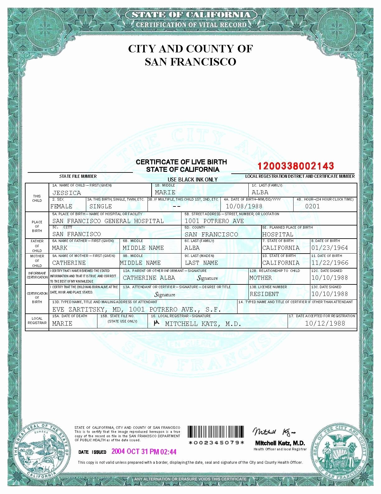 Fake Divorce Certificate Template Luxury San Francisco Birth Certificate Template