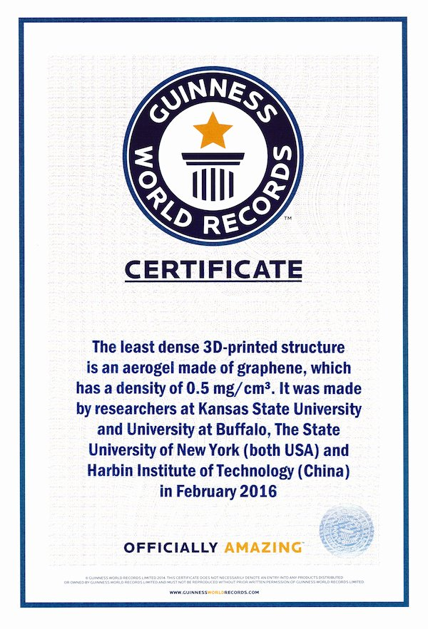 Fake Guinness World Record Certificate Fresh Alum Breaks World Record with 3 D Printed Graphene Aerogel