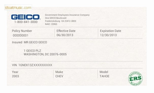 Fake Insurance Cards Elegant Fake Geico Insurance Card Template Stoatmusic In Insurance