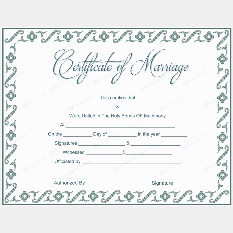 Fake Marriage Certificate Template Elegant 5 Plus Adorable Blank Marriage Certificate Designs for Word