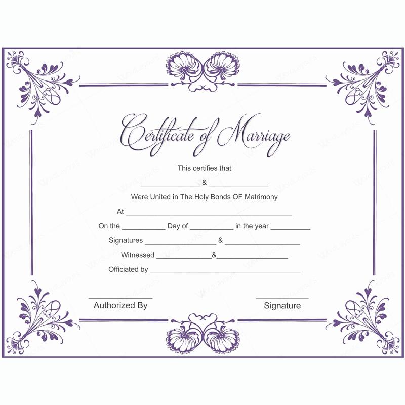 Fake Marriage Certificate Template Fresh 5 Plus Adorable Blank Marriage Certificate Designs for Word