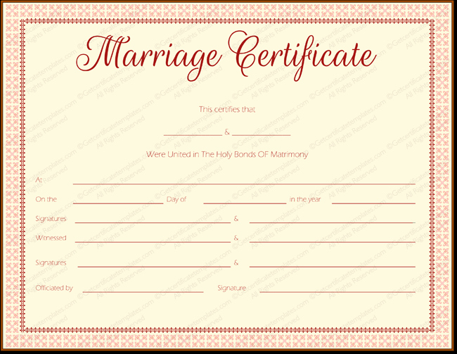Fake Marriage Certificate Template Luxury Maroon Delight Marriage Certificate Template Marriage