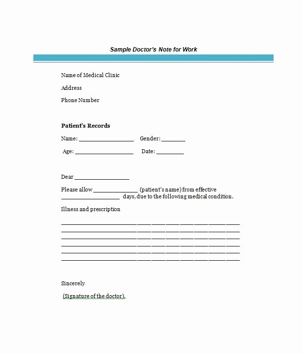 Fake Medical Report Generator New Free Doctor S Note Excuse Note Templates Template Section