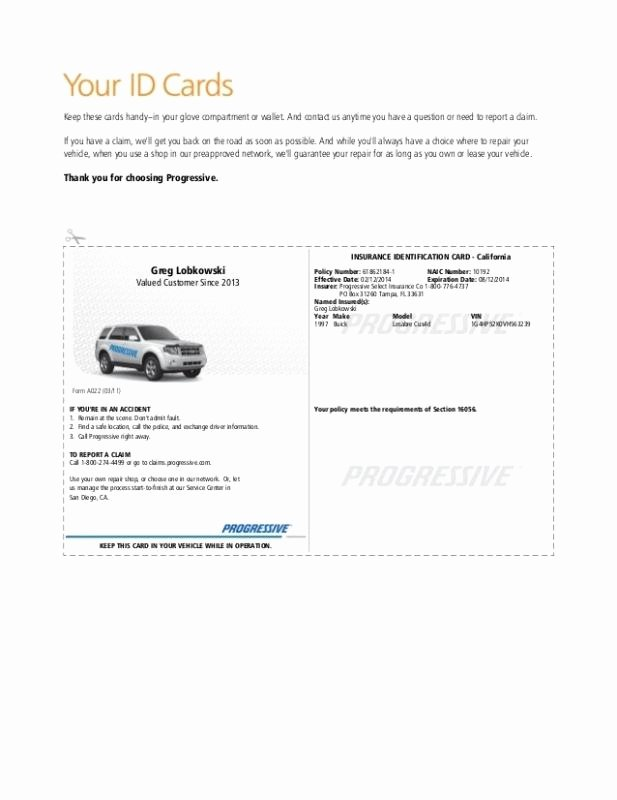 Fake Progressive Insurance Card Template Beautiful Auto Insurance Card Template