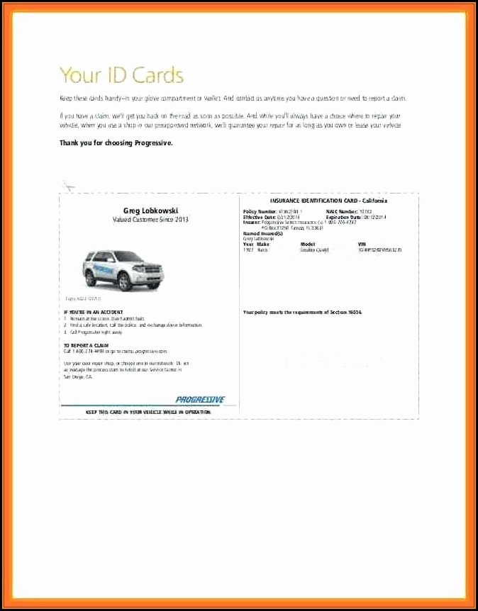 Fake Progressive Insurance Card Template Best Of Blank Auto Insurance Card Template Template 1 Resume