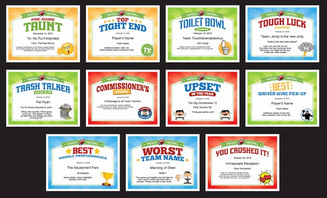 Fantasy Football Certificate Template Awesome Fantasy Football Certificates