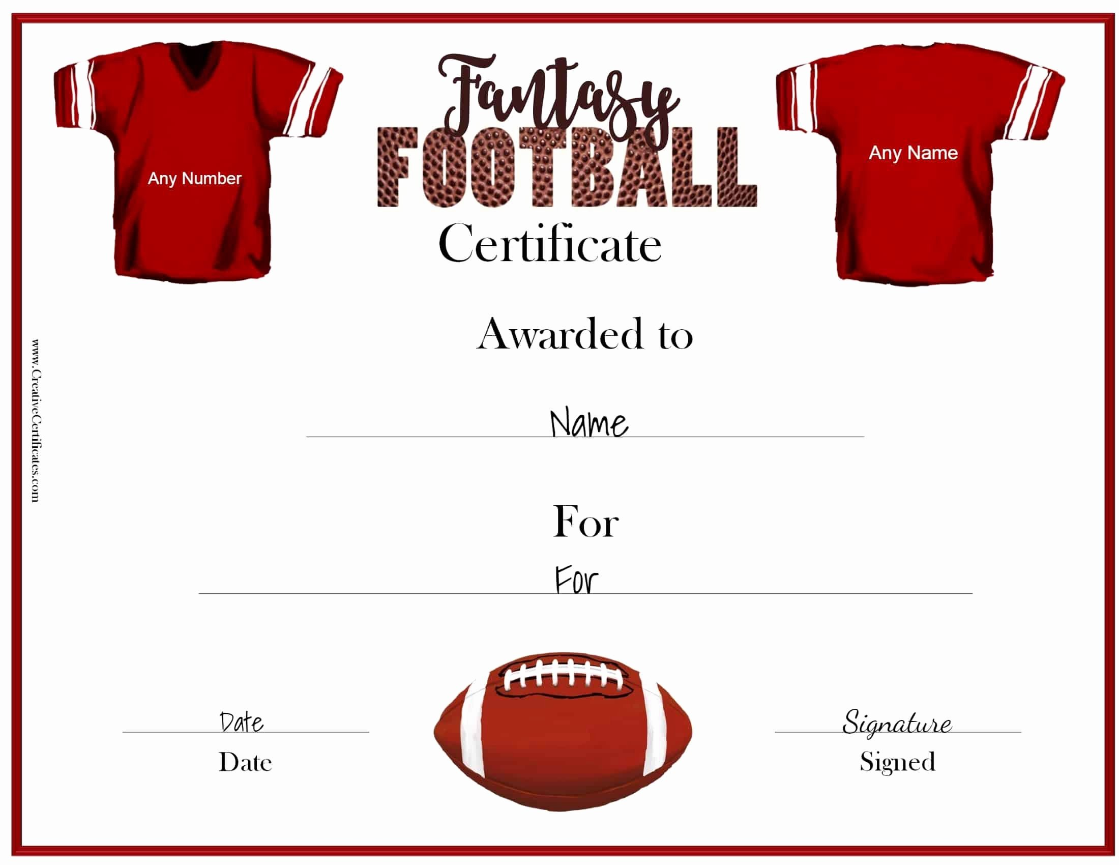 Fantasy Football Certificate Template Awesome Free Fantasy Football Awards