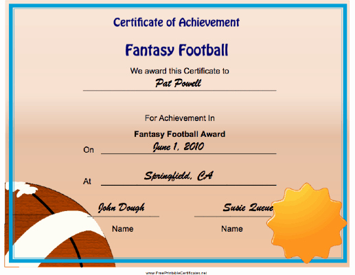 Fantasy Football Certificate Template Best Of Fantasy Football Achievement Printable Certificate