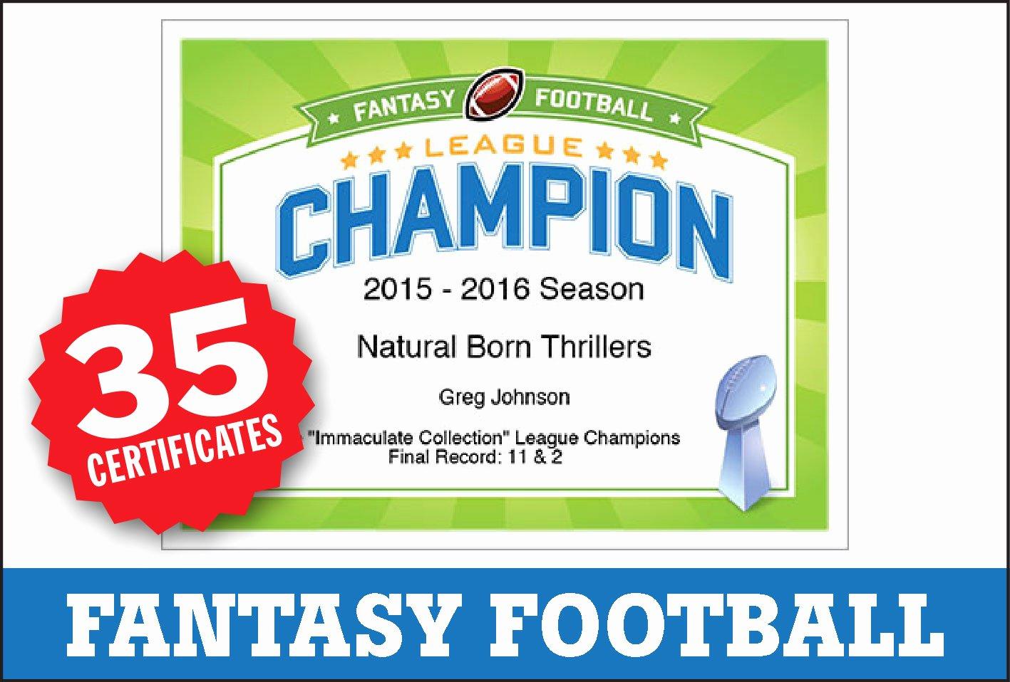 Fantasy Football Certificate Template Elegant Fantasy Football Award Certificates